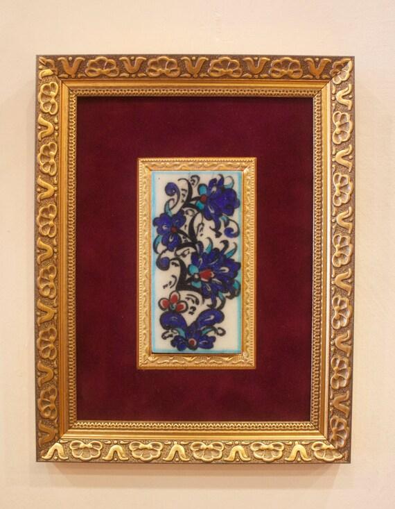 Ceramic Tile with Frame, Framed Tile, 5cm x 10cm Tile, Quartz Tile, Iznik Design Tile, Orriginal Iznik Quartz Tile, Handmade Turkish Tile
