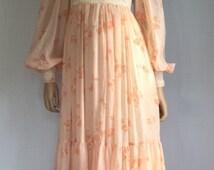 Vintage 70s Gunne Sax Hippie Wedding Dress - Retro 1970s Prom Dress - Gypsy Boho Bridal Dress - Puff Sleeves Stevie Nicks Dress