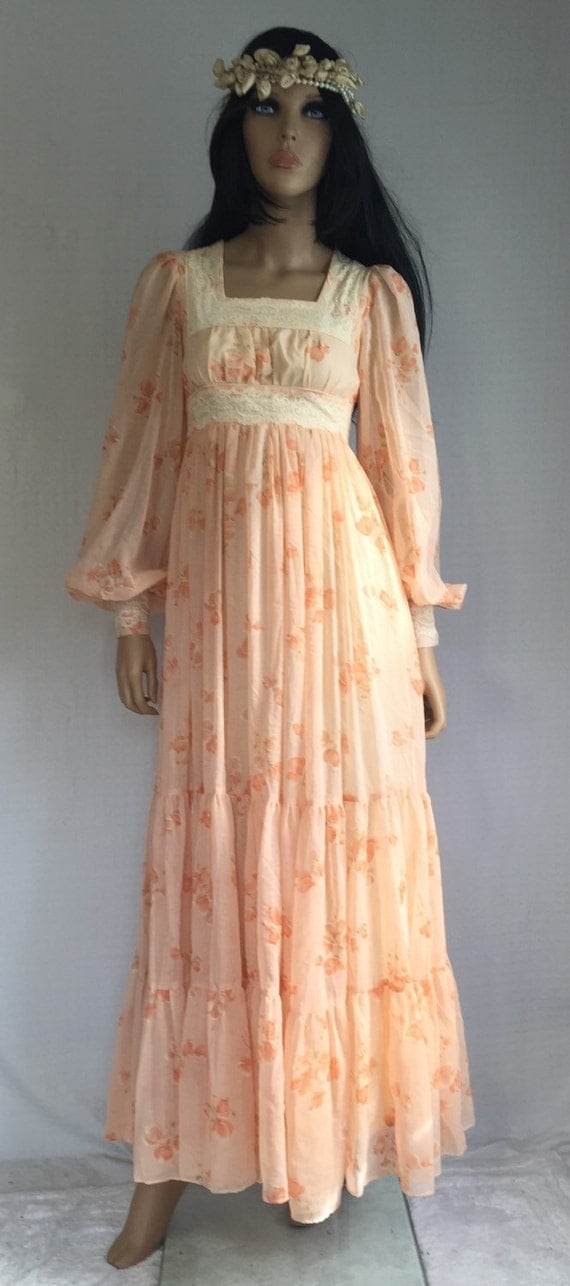 Vintage 70s Gunne Sax Hippie Wedding Dress Retro 1970s Prom