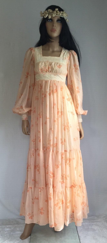 Vintage 70s Gunne Sax Hippie Wedding Dress Retro 1970s Prom
