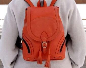 "Orange leather backpack ""Valletta"""