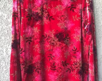 Crushed red velvet floral top