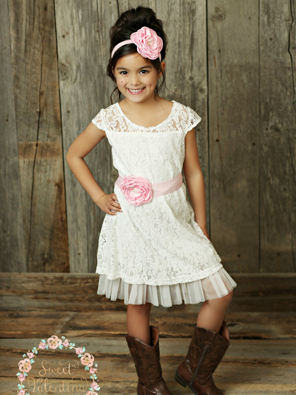 Flower girl dress rustic flower girl dress country flower for Country wedding flower girl dresses