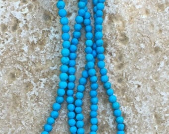 "Turquoise Beads, tiny round 3.5mm accent beads - FULL 16"" strand (about 135 beads) - G406"