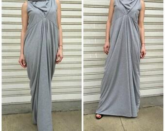 Grey Asymmetrical Maxi Dress /Oversize  Women Caftan / Maxi Summer Dress / Sleeveless  Jersey Dress / EXPRESS SHIPPING