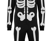 Batch1 Skeleton Full Body Print Novelty Halloween Fancy Dress Adult Onesie