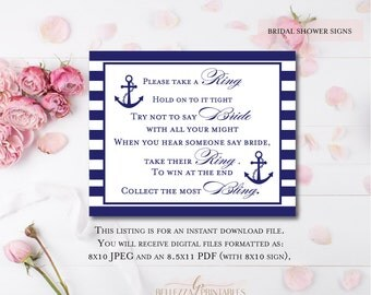 Try not to say Bride Game-Please Take a Ring Bridal Shower Game-Print yourself bridal shower welcome sign-BS10