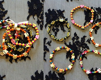 Set of five colourful fimo/wooden beaded bracelets