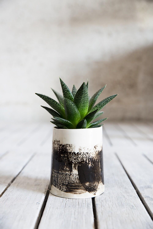 Ceramic Planter Modern Planter Black And White Planter