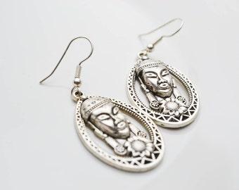 Ethnic - face - pendants earrings silver