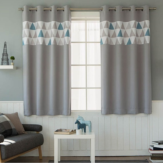 Triangles Patterned Blackout Curtains Grey Grommet Curtains