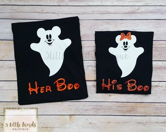 Disney Halloween Shirts | His Boo and Her Boo Matching Shirt Set | Mickey's Not So Scary | Disney Family Vacation | Disney Couples Shirts