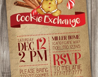 Christmas Cookie Exchange Invitation, Holiday Cookie Exchange Invitation, Cookie Swap Invitation #006