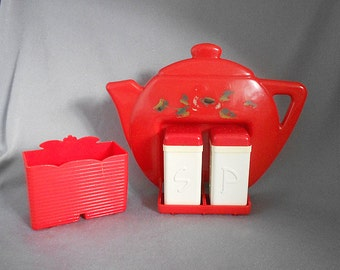 Vintage 1940s RETRO RED Plastic Teapot Salt & Pepper Shakers Holder Condiment Set,  Mid Century Kitchenalia RARE Red Kitchen Shakers Holder