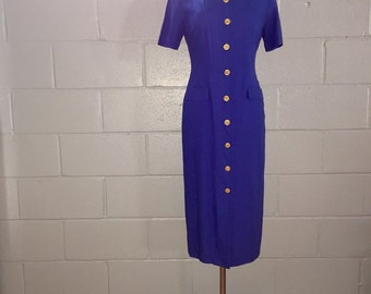 90s Royal Blue Button-down Fitted Dress by {Stephanie Erin}, Size 6/8