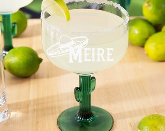 Personalized Margarita Glass with Cactus Stem