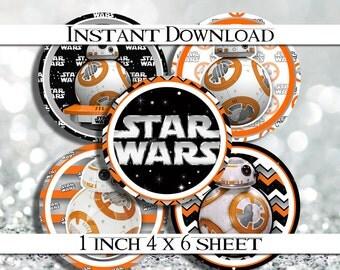 """50% OFF SALE INSTANT Download Star Wars Bb8 4x6 Digital 1"""" Inch Bottle Cap Image/Digital Collage sheet"""