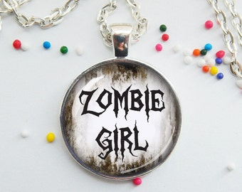 ZOMBIE Girl - zombie fan necklace - creepy jewelry