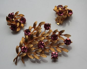 Pink Rhinestone and Gold Tone Brooch and Earrings, Demi Parure