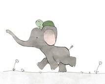 Elephant and Turtle Nursery Art Print - Safari Kids Room, Elephant Drawing, Kids Wall Art, Green and Grey