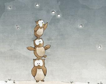 Owl Nursery Art Print