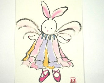 No. 20 /// Dancing Bunny, Postcard, painting in Japanese traditional watercolor, Etegami, Card,