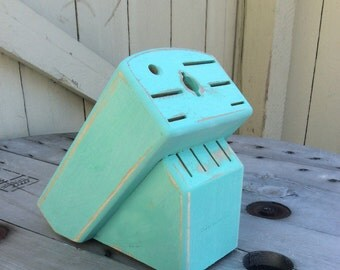 Shabby Chic Knife Block Finished in Mint Green