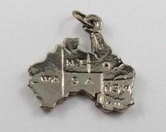 Map of Australia Sterling Silver Vintage Charm For Bracelet