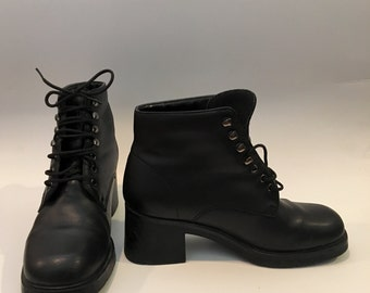 Black Lace Up Leather Ankle Boots Booties 90s
