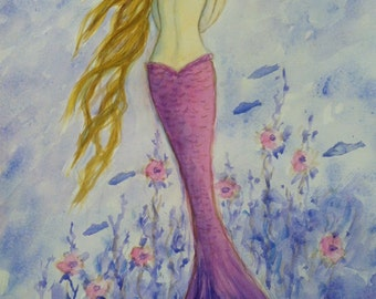 Mermaid Print, Greeting card, Pink Mermaid holding starfish from original painting by Tina Obrien