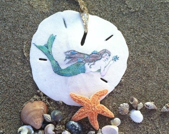 Mermaid art, Holiday Ornament, Mermaid Sand dollar Ornament, Brunette Mermaid, Beach Art, Nautical, Seashells