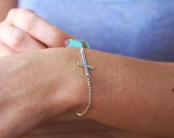 Silver Sideway Cross Bracelet, Sideway Cross Bracelet, Minimal Silver Bracelet, Dainty Silver Bracelet Layering Bracelet Sideway Cross Chain