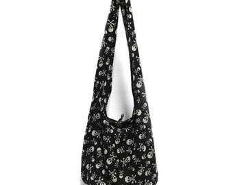 Skull Print Sling Shoulder Bag Cross Body Bag Cotton Hippie Boho Style Handmade Black