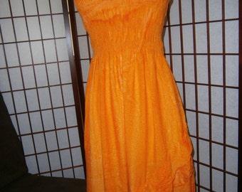 Women's Orange Strapless Sundress