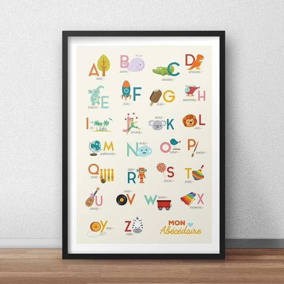 alphabet poster enfant abc ab c daire affiche enfant. Black Bedroom Furniture Sets. Home Design Ideas