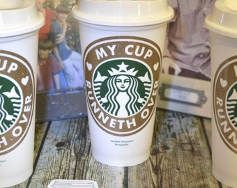 """Starbucks Coffee Cup """"My Cup Runneth Over"""" Psalm 23:5 (Genuine Reusable Name Personalized Starbucks Cup, Mug, Tumbler) [Holiday gift idea]"""
