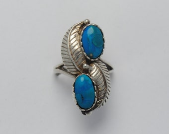 Feathers native american turquoise ring and sterling silver, turquoise jewelry, vintage jewelry, native american jewelry, vintage, turquoise