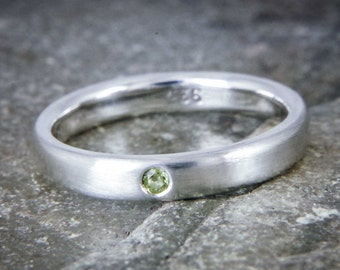 Peridot silver ring - Flush set simple ring - stacking ring - August birthstone - Available with other stones