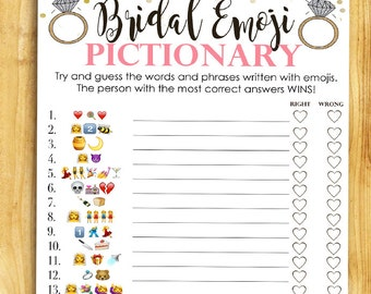 Bridal Shower Game Pictionary - EMOJI Pictionary - Coral and Gold - Instant Printable Digital Download - diy Bridal Shower Printables