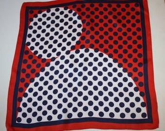 Red, White & Blue Mod Polka Dot Scarf