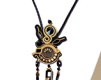 Pendant necklace black & gold statement necklace handmade bohemian jewelry festival soutache jewelry long beaded necklace gift women Boho