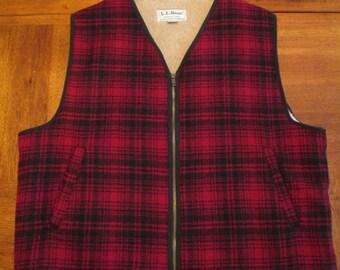 Mens Vintage LL Bean Wool Fleece Lined Vest Size: XL Tall ~ Fluffy & Warm ~