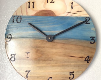 "16"" Beach/Ocean Wall Clock - Wood burned, multi stain color"