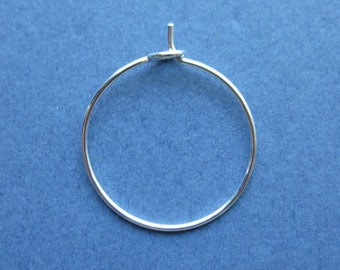 25 Wine Glass Charm Rings - Wine Glass Rings - Earring Hoops - Silver Plated - 25mm x 20mm  -- (No.33-10483)