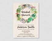 Succulent Bridal Shower Invitation Printable or Printed - Rustic Green Bridal Shower Invites, Trendy Cactus Succulent Shower Invitation 0025