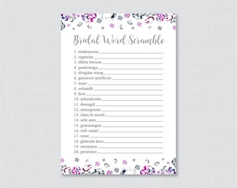Diamond Bridal Shower Word Scramble - Printable Pink and Gray Bridal Shower Game - Pink and SilverDiamonds Bling Word Scramble Game 0023