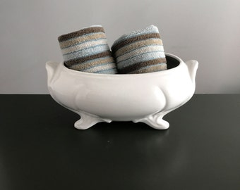 Loucarte White Pottery Footed Tureen / Made in Portugal