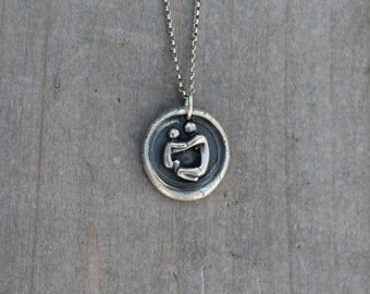 Mother and child wax seal fine silver pendant
