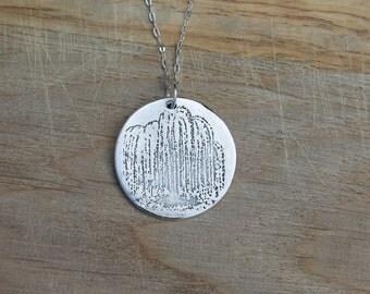 Willow tree fine silver pendant