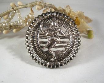 Shiva jolie vintage Sterling Silver brooch Indian Godess